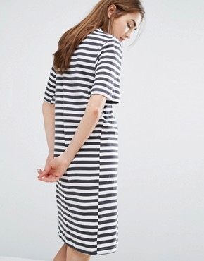 photo High Neck Swing Dress in Stripe by Cheap Monday, color Black/White - Image 2