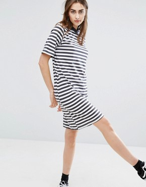 photo High Neck Swing Dress in Stripe by Cheap Monday, color Black/White - Image 1