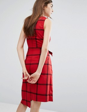 photo Tie-Front Check Dress by Cheap Monday, color Deep Red - Image 2