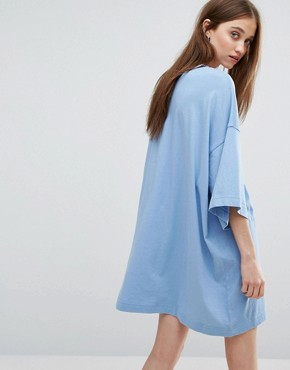 photo Huge T-shirt Dress by Weekday, color Dusty Blue - Image 2