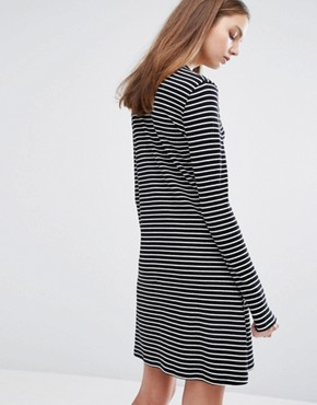 photo Striped Dress with Contrast Ringer by Weekday, color Black/White - Image 2