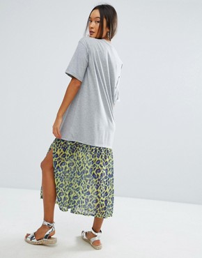 photo Midi T-Shirt Dress With Leopard Print Woven Hem by ASOS, color Grey Marl - Image 2