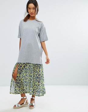 photo Midi T-Shirt Dress With Leopard Print Woven Hem by ASOS, color Grey Marl - Image 1