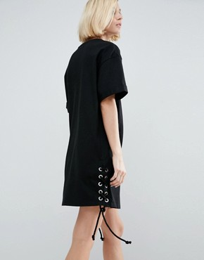 photo T-Shirt Dress With Lace Up Sides by ASOS, color Black - Image 2