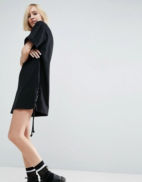 photo T-Shirt Dress With Lace Up Sides by ASOS, color Black - Image 1