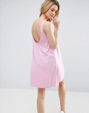 photo Swing Dress With Low Back by ASOS, color Pale Pink - Image 1