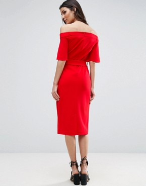photo Midi Dress with Off Shoulder and Self Tie by ASOS, color Red - Image 2