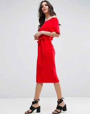 photo Midi Dress with Off Shoulder and Self Tie by ASOS, color Red - Image 1