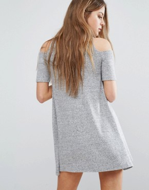 photo Cold Shoulder Cosy Dress by Hollister, color Heather Grey - Image 2