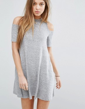photo Cold Shoulder Cosy Dress by Hollister, color Heather Grey - Image 1