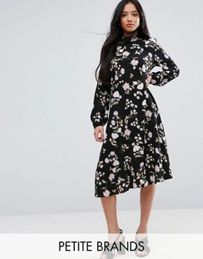 photo Floral Long Sleeve Midi Dress by New Look Petite, color Black - Image 1