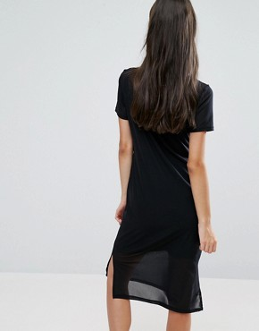 photo Mesh Midi Dress by New Look Petite, color Black - Image 2