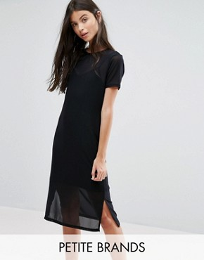 photo Mesh Midi Dress by New Look Petite, color Black - Image 1