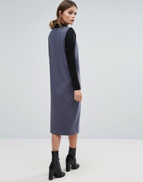 photo Deep V Pinafore Dress by Selected Femme, color Ombre Blue - Image 2