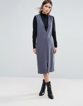 photo Deep V Pinafore Dress by Selected Femme, color Ombre Blue - Image 1
