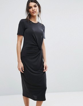 photo Jersey Twist Dress by Selected Femme, color Black - Image 1