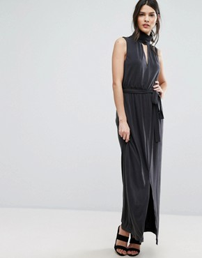 photo Holly Open Back Maxi by Selected Femme, color Black - Image 1