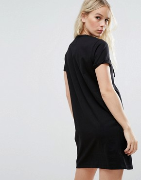 photo Lace Up Front T-Shirt Dress by ASOS PETITE, color Black - Image 2