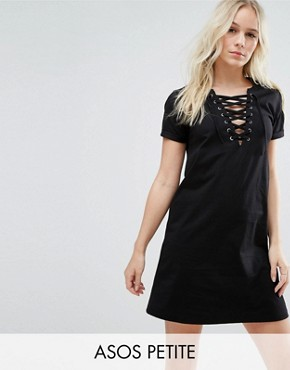 photo Lace Up Front T-Shirt Dress by ASOS PETITE, color Black - Image 1
