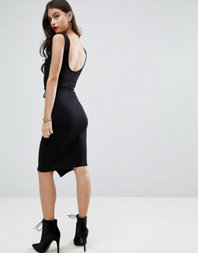 photo Bodycon Dress with Corset Waist by ASOS PETITE, color Black - Image 2