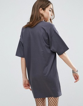 photo Band T-Shirt Dress With Plunge Neck by ASOS, color Washed Black - Image 2