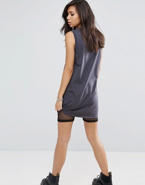 photo Nibbled Sleeveless Band T-Shirt Dress by ASOS, color Grey - Image 2