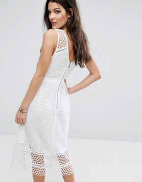 photo Lace Zip-Back Midi Dress by Abercrombie & Fitch, color White - Image 2
