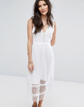 photo Lace Zip-Back Midi Dress by Abercrombie & Fitch, color White - Image 1