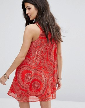 photo Chiffon Dress with Paisley Print by Abercrombie & Fitch, color Red - Image 2