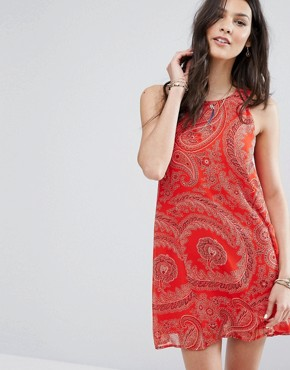 photo Chiffon Dress with Paisley Print by Abercrombie & Fitch, color Red - Image 1