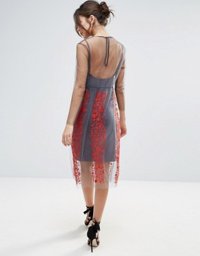 photo Stargazer Embroidered Dress by Little White Lies, color Red - Image 2