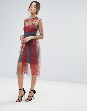 photo Stargazer Embroidered Dress by Little White Lies, color Red - Image 1