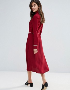 photo Kia Midi Shirt Dress by Little White Lies, color Burgandy - Image 2