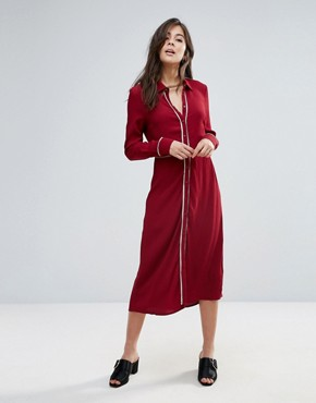 photo Kia Midi Shirt Dress by Little White Lies, color Burgandy - Image 1