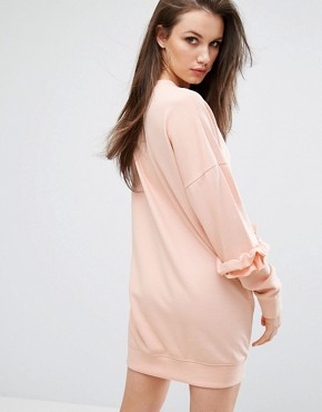 photo Frill Detail Sweat Dress by Missguided, color Pink - Image 2