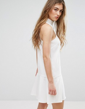 photo Lace Panel Drop Hem Dress by Missguided, color White - Image 2