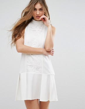 photo Lace Panel Drop Hem Dress by Missguided, color White - Image 1