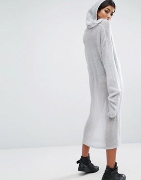 photo Oversized Longline Loose Knit Hoodie Dress by Bones, color Grey - Image 2