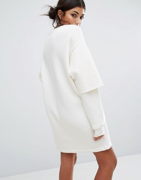 photo Oversized Sweat Dress with Double Layer Sleeve and Lace Patches by Bones, color Off White - Image 2