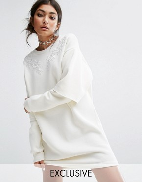 photo Oversized Sweat Dress with Double Layer Sleeve and Lace Patches by Bones, color Off White - Image 1