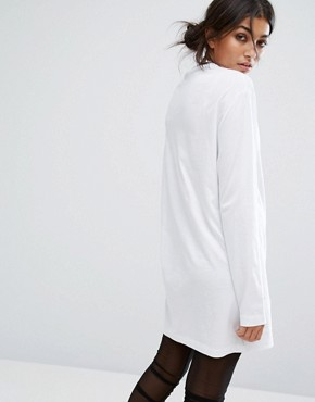 photo Oversized Long Sleeve T-Shirt Dress with Tour Print by Bones, color White - Image 2