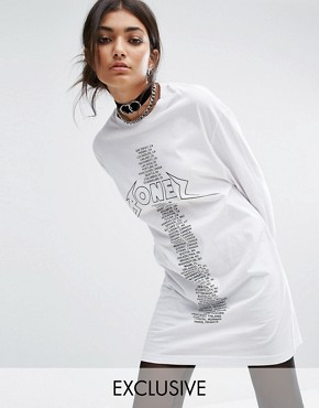 photo Oversized Long Sleeve T-Shirt Dress with Tour Print by Bones, color White - Image 1