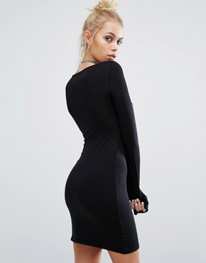 photo Bodycon Long Sleeve Dress with Metallica Foil Band Print by Adolescent Clothing, color Black - Image 2
