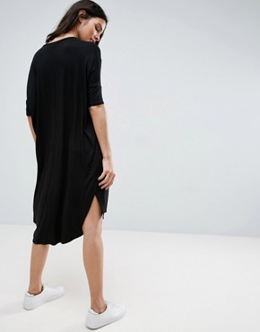 photo Oversize T-Shirt Dress with Curved Hem by ASOS, color Black - Image 2