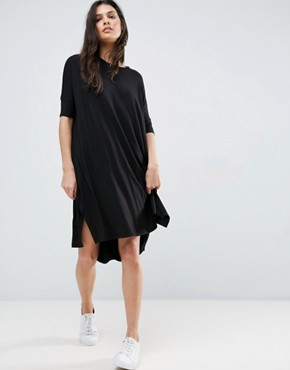 photo Oversize T-Shirt Dress with Curved Hem by ASOS, color Black - Image 1