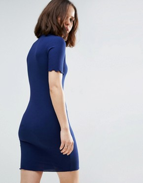 photo Bodycon Dress in Rib with Roll Neck by ASOS, color Navy - Image 2