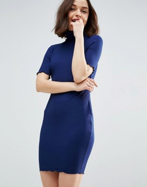 photo Bodycon Dress in Rib with Roll Neck by ASOS, color Navy - Image 1
