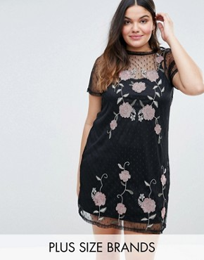 photo Embroidered Mesh Tunic Dress by New Look Plus, color Black - Image 1