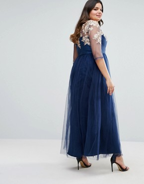 photo Premium Lace Bodice Maxi Dress with Tulle Skirt by Chi Chi London Plus, color Navy - Image 2