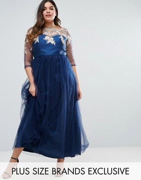photo Premium Lace Bodice Maxi Dress with Tulle Skirt by Chi Chi London Plus, color Navy - Image 1